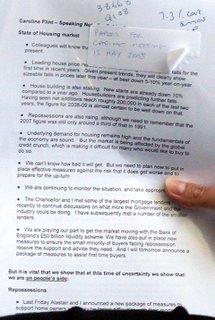 Caroline Flint's notes