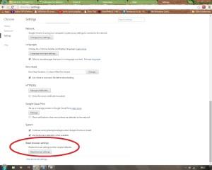 Reset Chrome browser settings