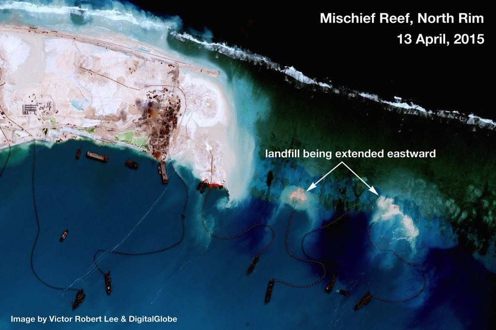 Building developments on Mischeif Reef, Spratly Islands