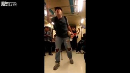 Crazy drunk American rants on Chinese metro
