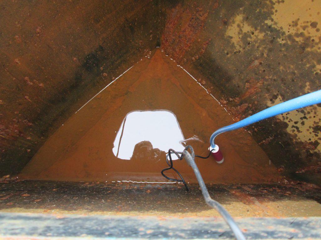 Rusted narrowboat water tank