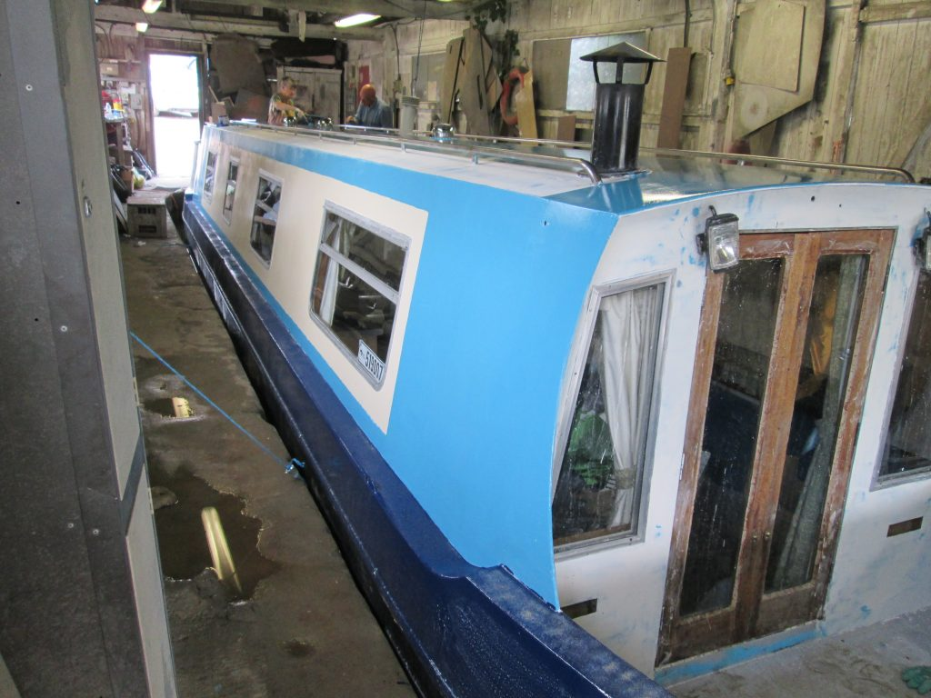 Narrowboat in painting shed