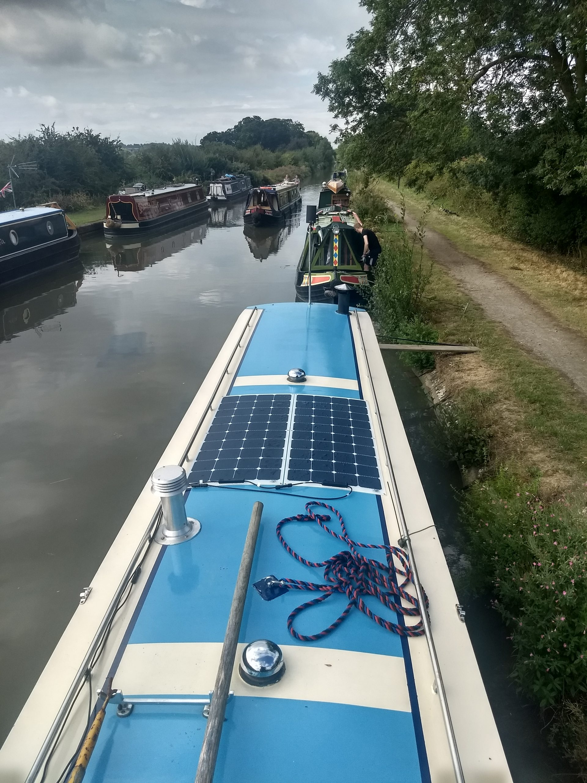 Fitting flexible solar panels to a narrowboat