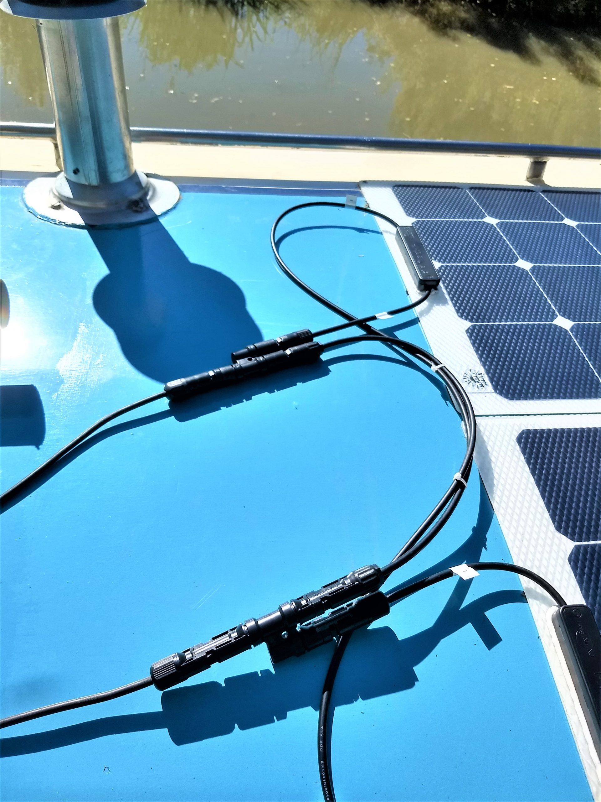 Fitting Flexible Solar Panels To A Narrowboat Continuous Cruising Power Kit Wiring And Connections Connecting In Parallel