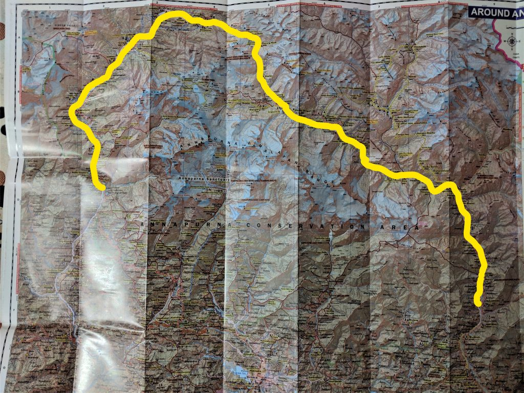 Map of Annapurna Circuit Trek