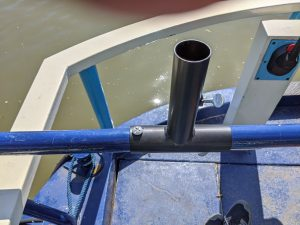 Brolley mate - rotary airer bracket for narrowboat tiller