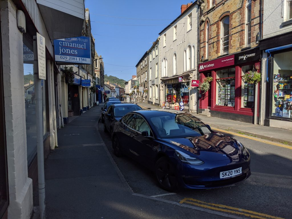 View down Builth Wells high street