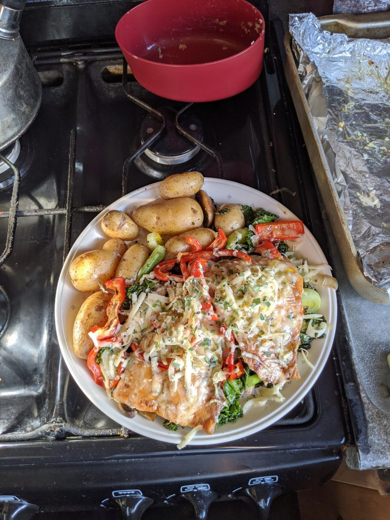 Haddock, cheese and tarragon with fresh vegetables 21/06/2020