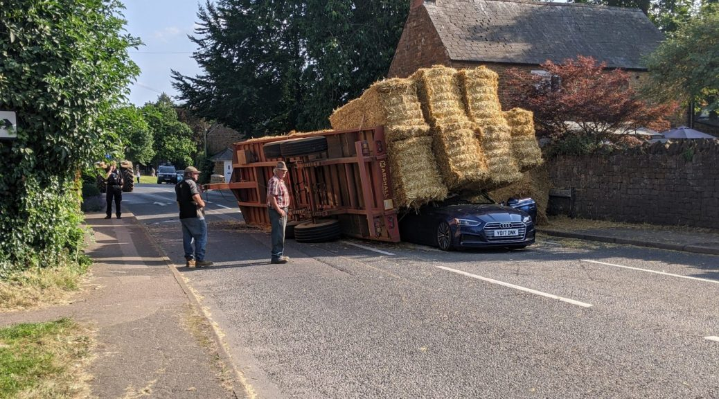 Car crushed by hay bales - Deddington A4260